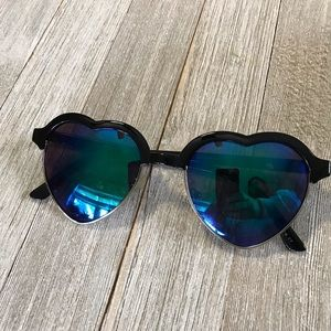 Accessories - Blue and Black Heart Shaped Sunglasses